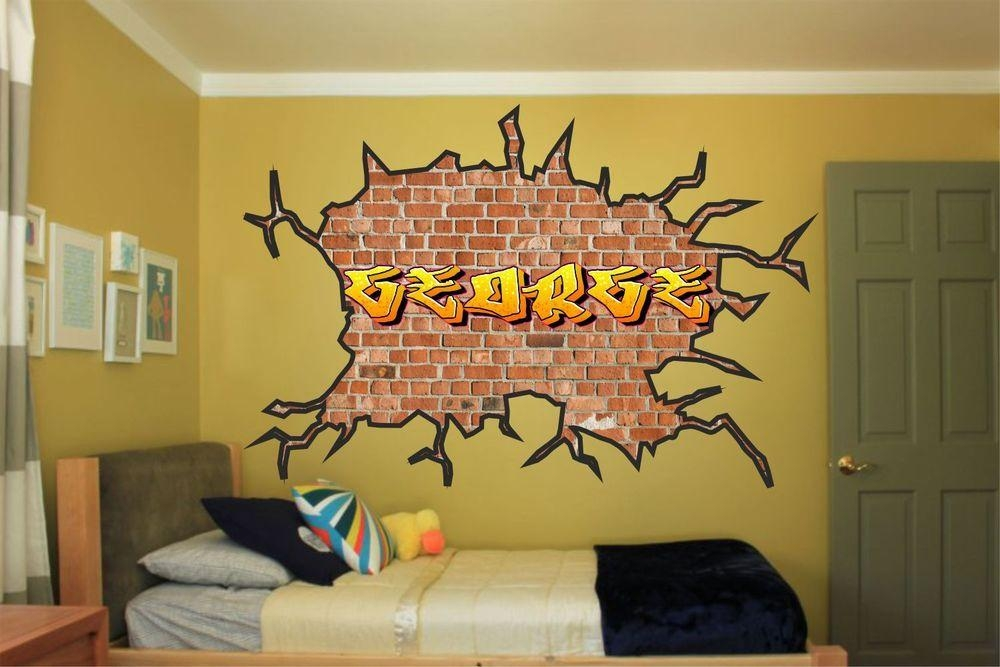 Large Personalised Name Graffiti Wall Art Sticker Boys Girls Kids Inside Personalized Graffiti Wall Art (Image 7 of 20)
