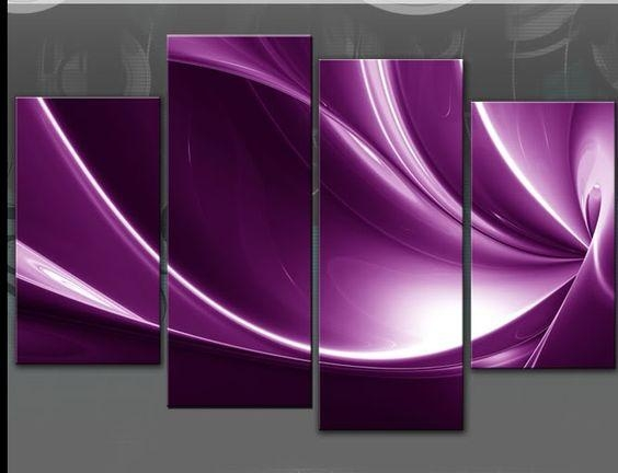 Large Purple Abstract Split Canvas Picture 4 Panel Multi Panel Regarding Purple Wall Art (View 18 of 20)