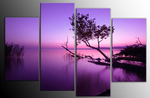Large Purple Toned Lake Scenic Canvas Wall Art Picture 60 Inch 4 Panel Inside Purple Wall Art Canvas (Image 10 of 20)