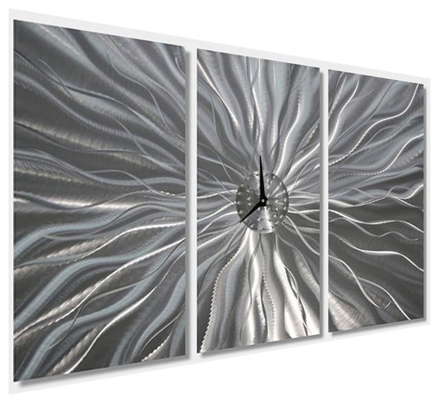 Large Silver Etched Contemporary Metal Art Wall Clockjon Allen Inside Black Silver Wall Art (Image 10 of 20)