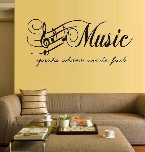 Large Size Music Sticker Music Note Home Decor Diy Wall Paper Wall Regarding Music Note Art For Walls (View 11 of 20)