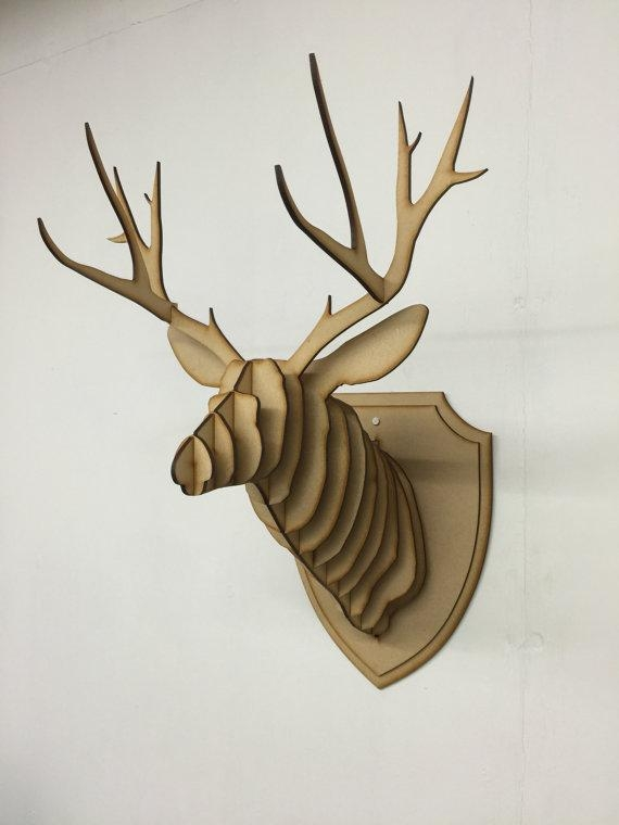Large/ Small Wooden Deer Head Kit Wall Art Decor Laser Cut With Regard To Stags Head Wall Art (Image 12 of 20)