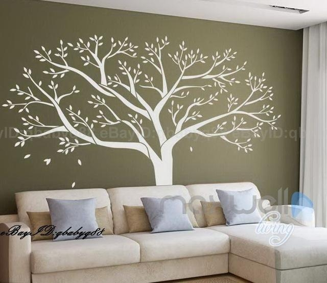 Large Tree Leaves Branch Vinyl Wall Art Decal Sticker Home With Vinyl Wall Art Tree (View 8 of 20)