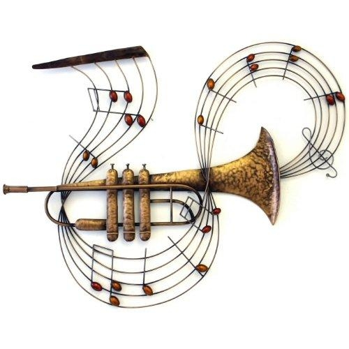 Large Trumpet Musical Instrument Metal Wall Art (View 2 of 20)