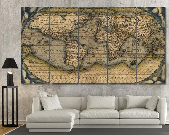 Large Vintage Wall Art Old World Map Antique World Map Canvas Pertaining To Large Vintage Wall Art (Image 12 of 20)