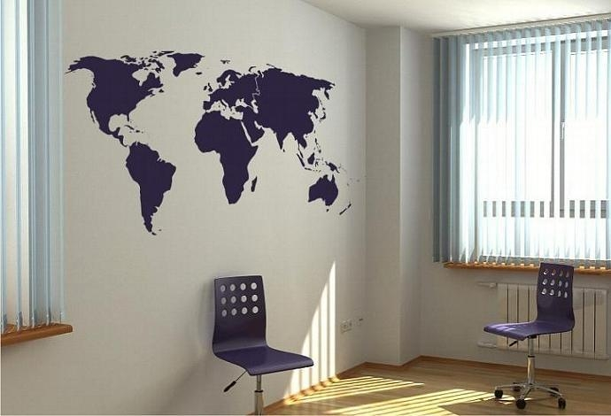 Large Vinyl Wall Art Decal Sticker World Mapellystudio On Zibbet Within Atlas Wall Art (View 11 of 20)