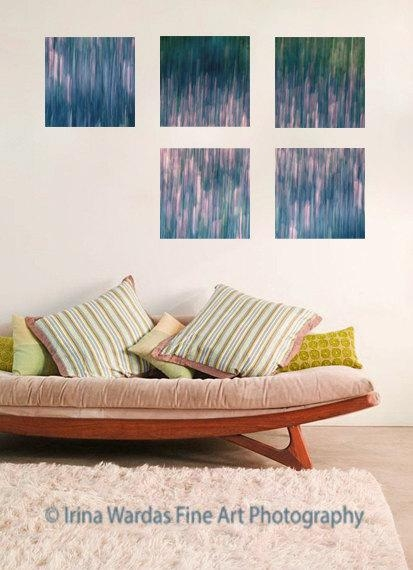 Large Wall Abstract Canvas Decor | Teal | Green | Pink | Lavender Regarding 4 Piece Wall Art (Image 15 of 20)
