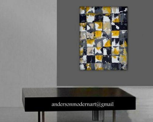 Large Wall Art, Art Print Of Yellow, Gray And Black Abstract Painting, Inside Large Yellow Wall Art (Image 13 of 20)