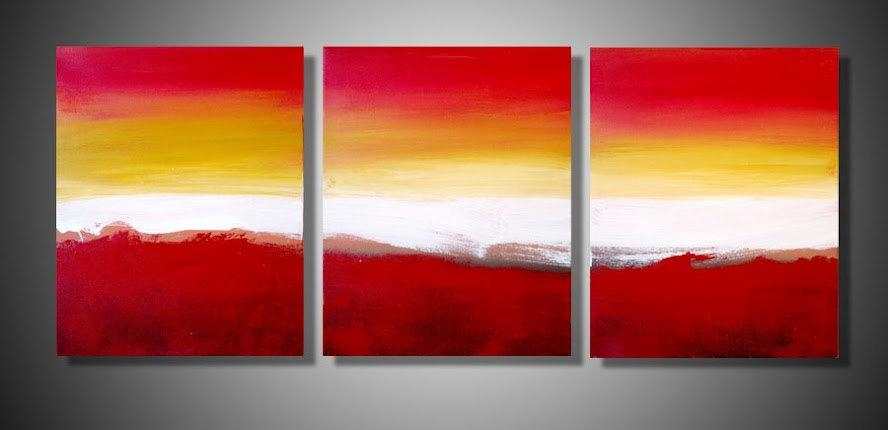 Large Wall Art Triptych 3 Panel Wall Contemporary Art Within Three Panel Wall Art (Image 8 of 20)