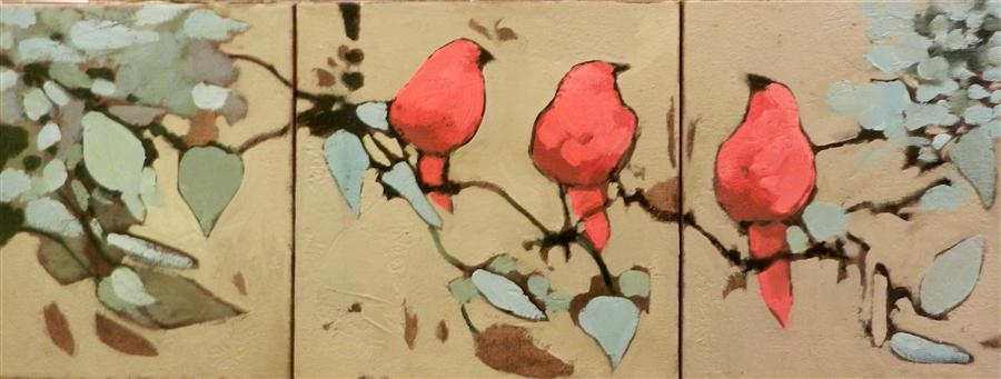 Large Red Bird Triptych Pertaining To Triptych Art For Sale (View 11 of 20)