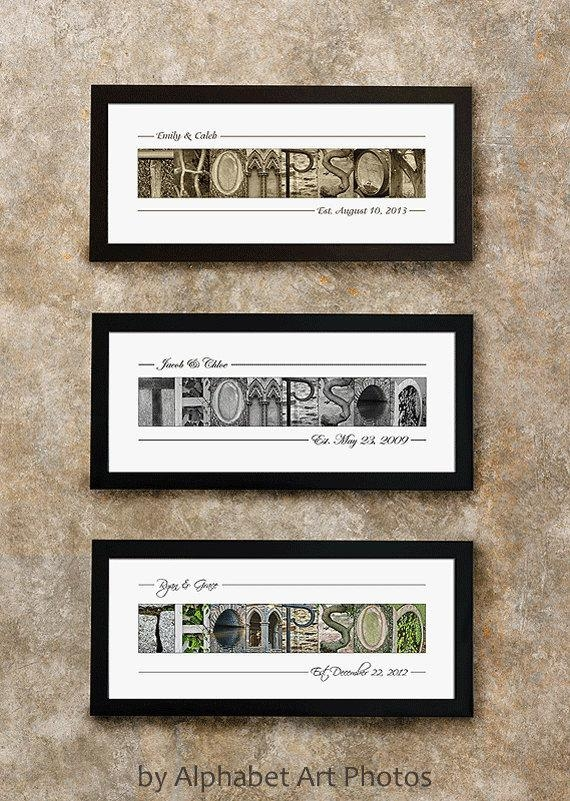 Last Name Sign Home Decor Alphabet Photo Letter Art Wall Throughout Last Name Framed Wall Art (Image 12 of 20)