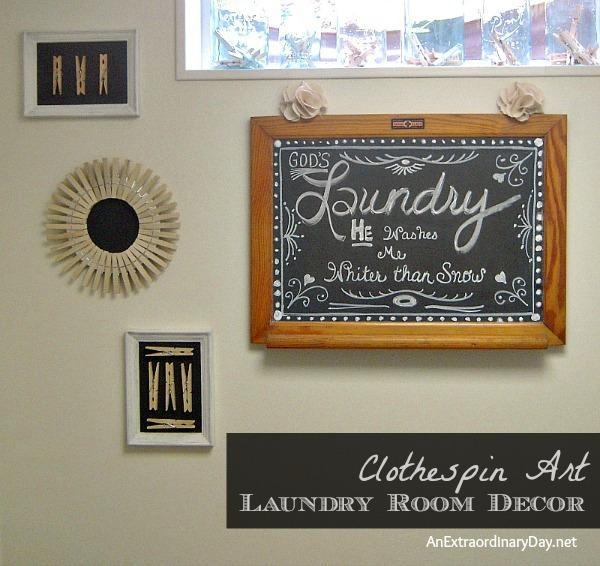 Laundry Room Decor :: Clothespin Art For The Makeover | An Within Laundry Room Wall Art (Image 10 of 20)