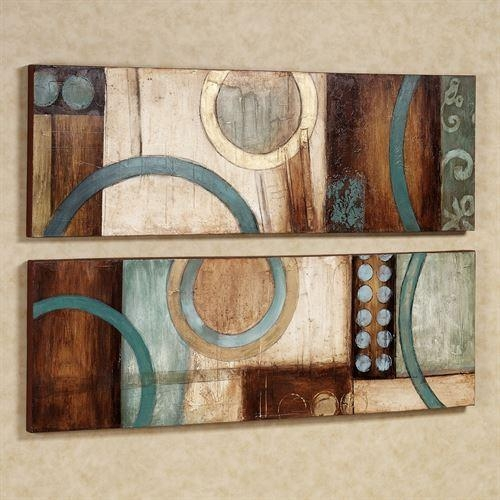 Lavare Canvas Wall Art Set Pertaining To Turquoise And Brown Wall Art (Image 13 of 20)