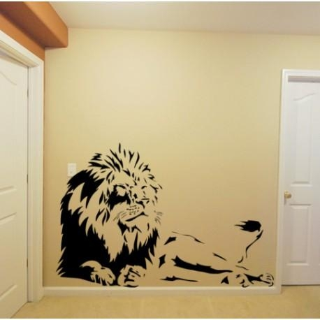 Laying Lion Wall Sticker, Tiger Wall Decal, Tiger Wall Graphics (Image 10 of 20)