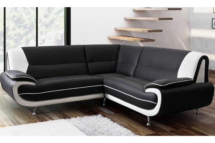 Leather Corner Sofa Suite Black & White With Regard To Black Corner Sofas (View 5 of 20)