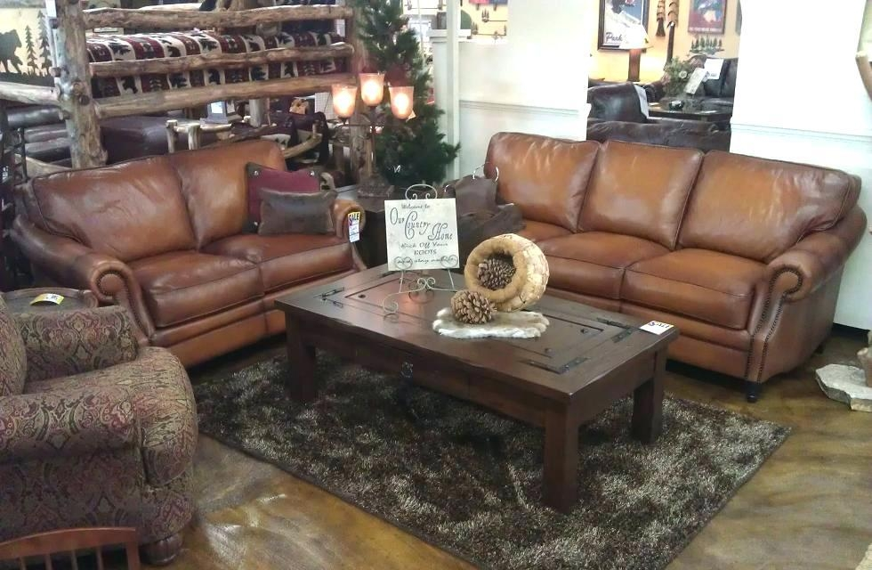 Leather Sofa ~ Broyhill Lauren 2 Brown Faux Leather Sofa And Intended For Bomber Leather Sofas (Image 10 of 20)