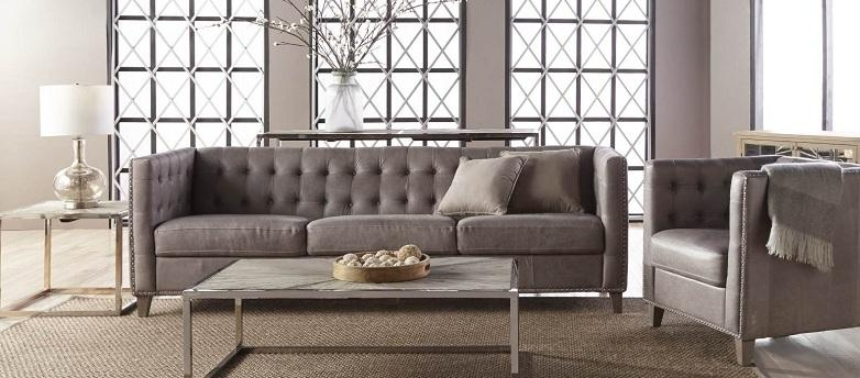 Leather Sofas, Buy Leather Sofas, Living Room Leather Sofas In Silver Tufted Sofas (View 11 of 20)
