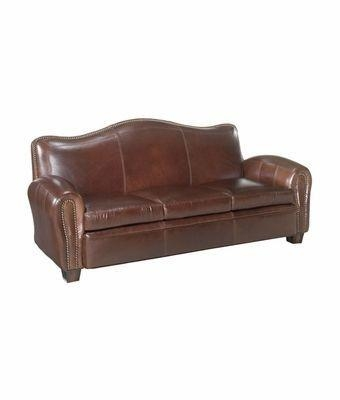 Leather Tight Camelback Loveseat With Nail Head Trim | Club Furniture Intended For Camelback Leather Sofas (Image 14 of 20)