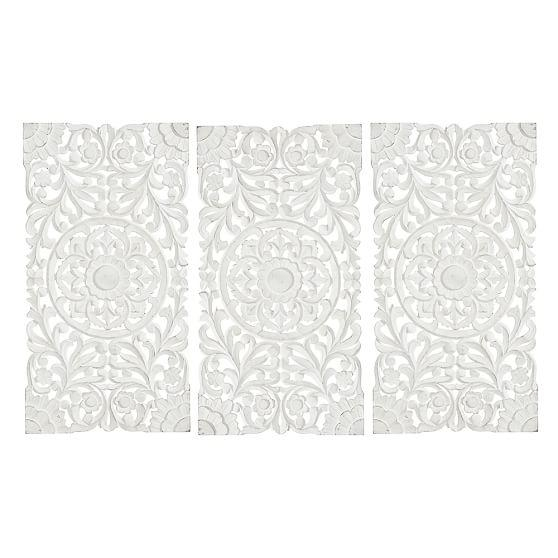 Lennon & Maisy Ornate Wood Carved Wall Art, Set Of 3 | Pbteen For White Wooden Wall Art (Image 8 of 20)