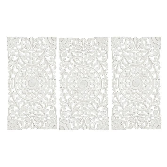 Lennon & Maisy Ornate Wood Carved Wall Art, Set Of 3 | Pbteen With Regard To White Wooden Wall Art (View 9 of 20)