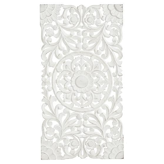 Lennon & Maisy Ornate Wood Carved Wall Art, Set Of 3 | Pbteen With White Wooden Wall Art (Image 10 of 20)