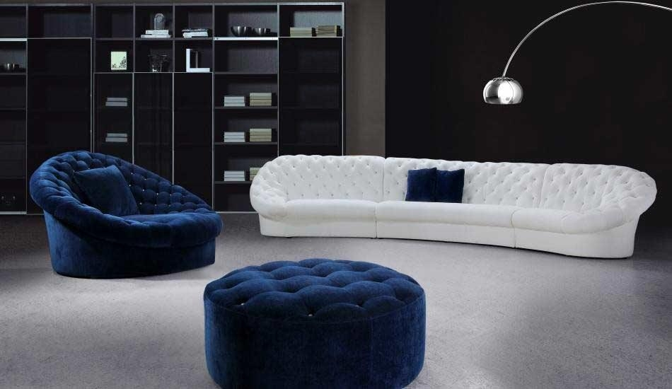 Leon Blue And White Sofa Set With Ottoman   Fabric Sectional Sofas For Blue And White Sofas (Photo 1 of 20)