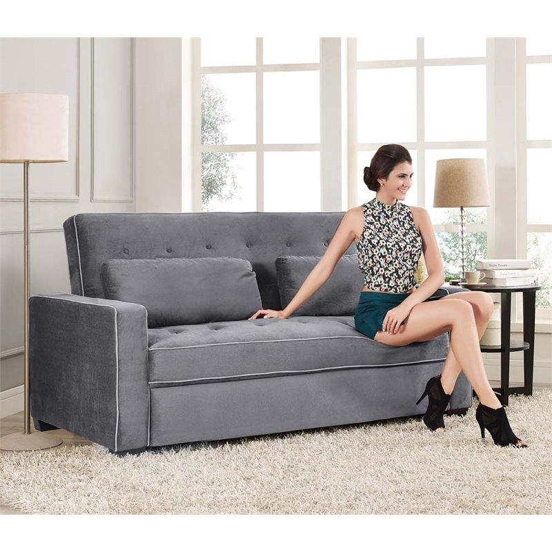 Lifestyle Solutions Monroe Convertible Queen Sofa In Gray – Sa In Convertible Queen Sofas (View 11 of 20)
