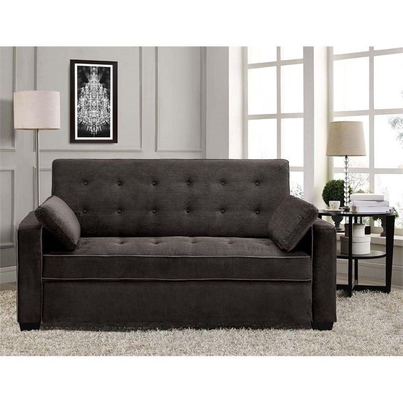 Lifestyle Solutions Monroe Convertible Queen Sofa In Java – Saags In Convertible Queen Sofas (Image 9 of 20)