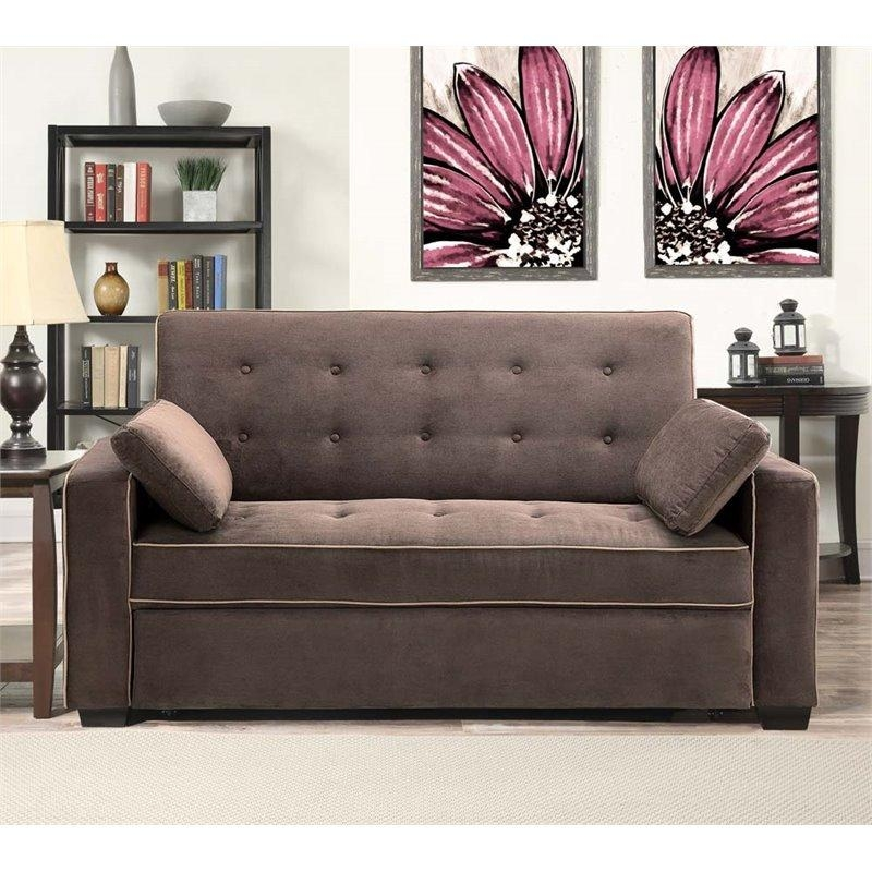 Lifestyle Solutions Monroe Convertible Queen Sofa In Java – Saags Throughout Convertible Queen Sofas (Image 11 of 20)