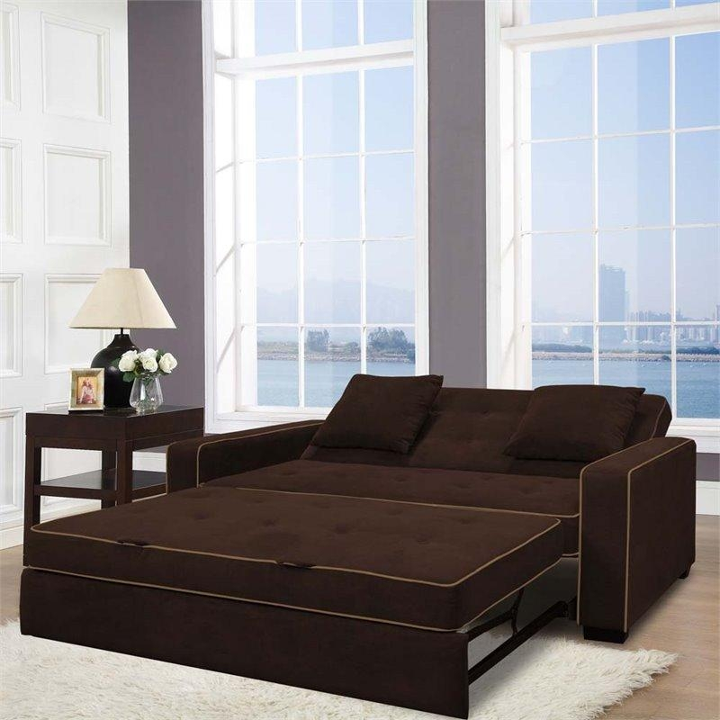 Lifestyle Solutions Monroe Convertible Queen Sofa In Java – Saags With Regard To Convertible Queen Sofas (View 8 of 20)