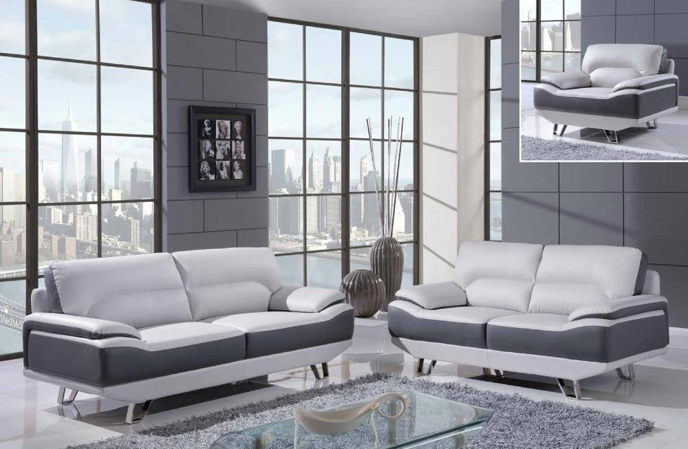 Light Gray And Black Modern Bonded Leather Sofa Set With Chrome With Regard To Black And White Sofas And Loveseats (Image 18 of 20)