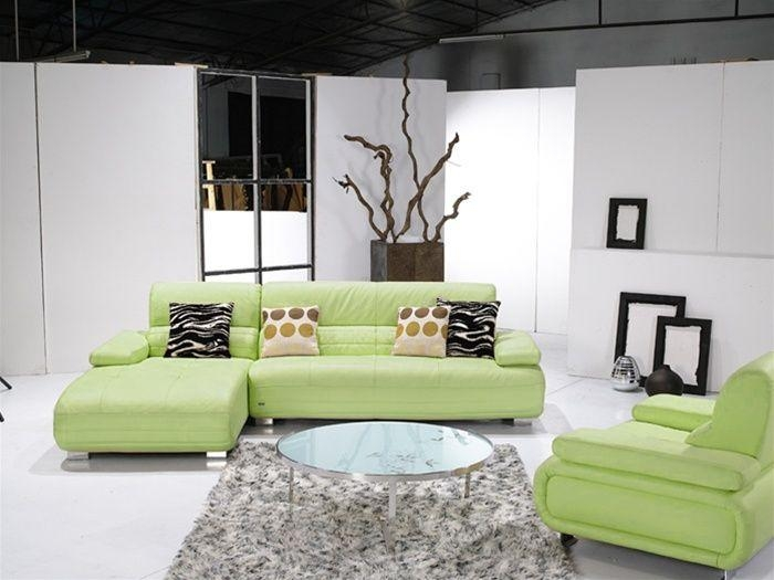 Light Green Leather Sectional Sofa With Stainless Steel Base Idaho Throughout Green Leather Sectional Sofas (Image 17 of 20)