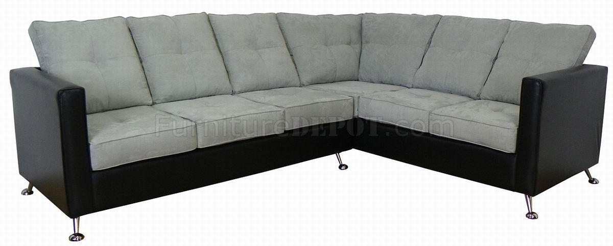 Light Grey Fabric & Black Vinyl Modern Sectional Sofa Intended For Black Vinyl Sofas (Image 14 of 20)
