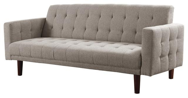 Light Taupe Chenille Sleeper Sofa Bed Futon, Tufted Back, Seat Regarding Chenille Sleeper Sofas (Image 14 of 20)
