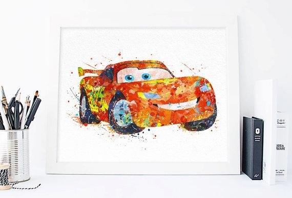 Lightning Mcqueen Print Cars Disney Watercolor Nursery Wall Intended For Lightning Mcqueen Wall Art (Image 16 of 20)