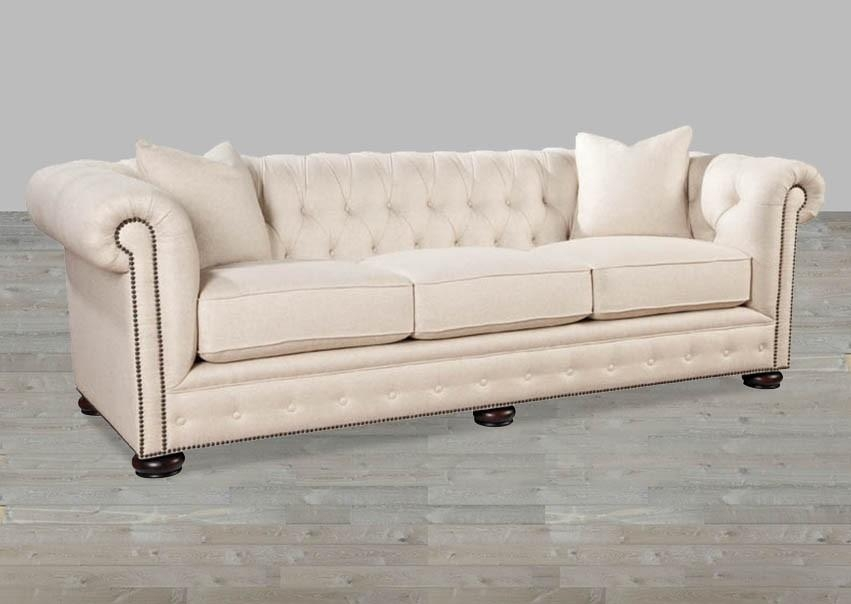 Linen Chesterfield Style Sofa For Beige Sofas (Image 16 of 20)