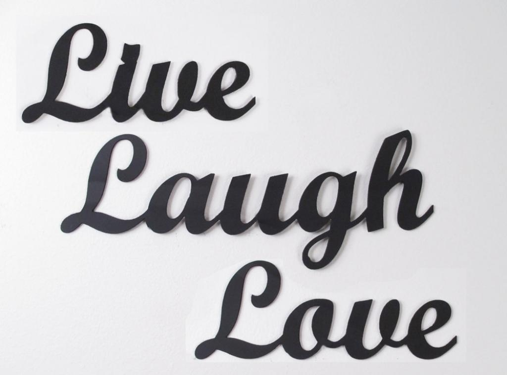 "Live Laugh Love"" Inspirational Message Sign Metal Wall Art 26"" L For Live Love Laugh Metal Wall Art (Image 13 of 20)"