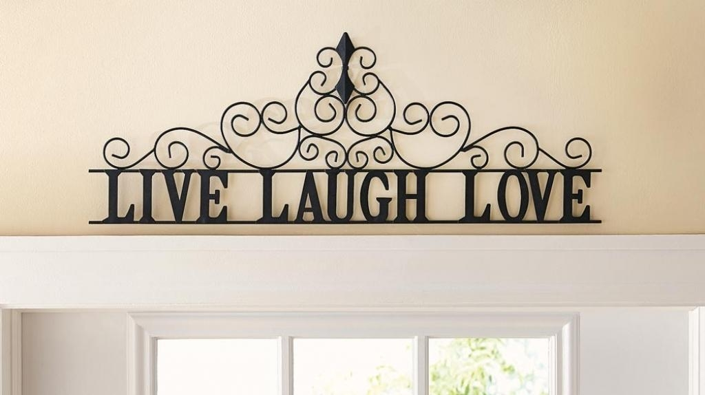 "Live Laugh Love"" Inspirational Message Sign Metal Wall Art 26"" L Within Live Love Laugh Metal Wall Art (Image 15 of 20)"