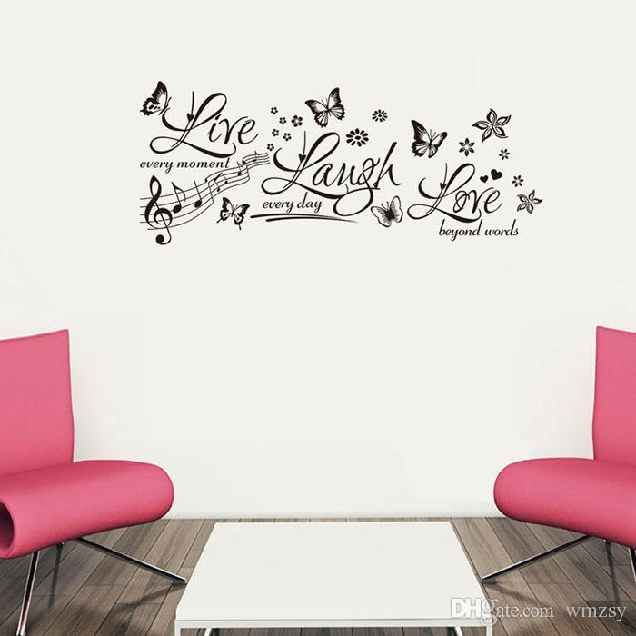 Live Laugh Love Wall Stickers Butterfly Music Notes Wall Decals Intended For Music Note Wall Art (View 13 of 20)