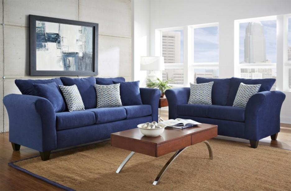 Living Room : Amazing Blue Living Room Furniture Ideas With Dark Throughout Blue Microfiber Sofas (Image 9 of 20)