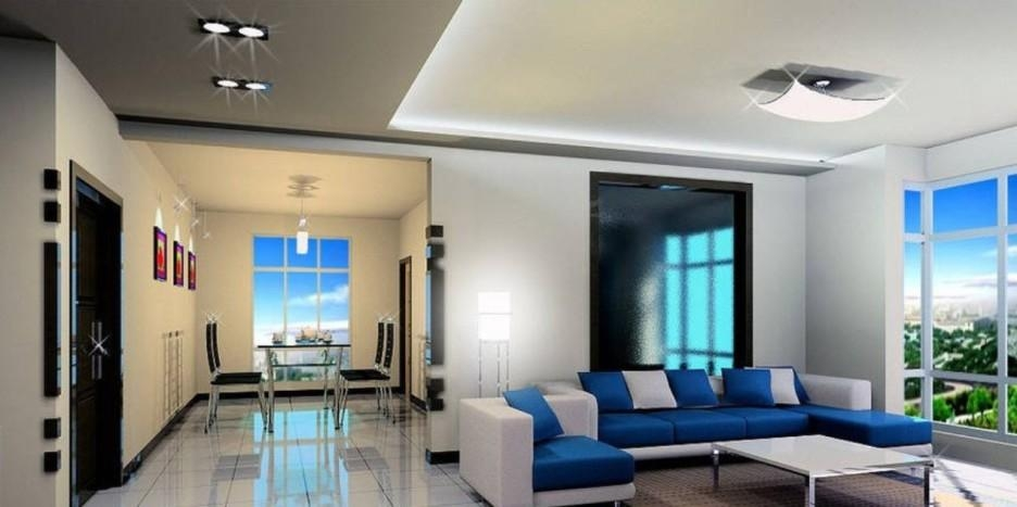 Living Room Modern Living Room Idea With Blue White Sofa And In Blue And White Sofas (View 14 of 20)