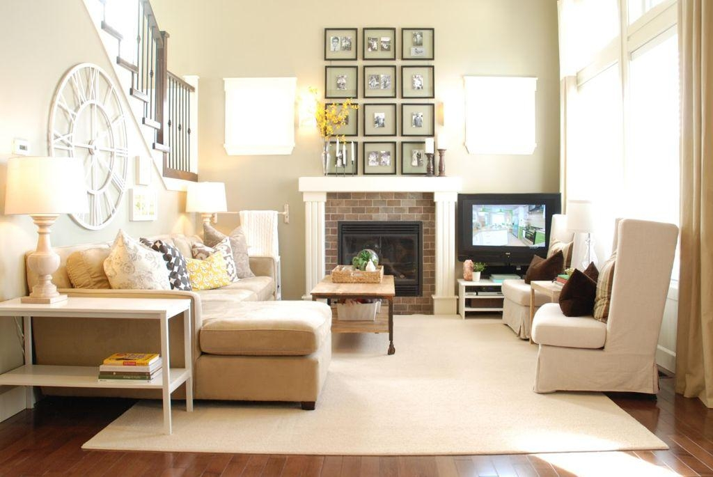 Living Room : Stunning Living Room Home Decor With Corner Brick Pertaining To Fireplace Wall Art (Image 16 of 20)