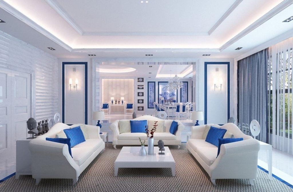 Living Room : Terrific Blue And White Living Room Decorating Ideas Within Blue And White Sofas (View 13 of 20)