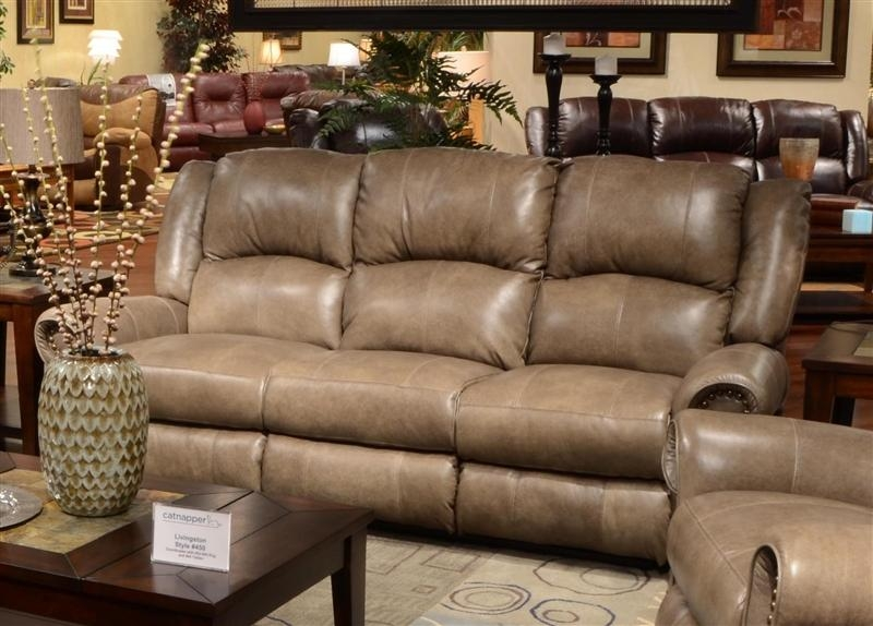 Livingston Leather Reclining Sofa With Drop Down Table Regarding Catnapper Recliner Sofas (Image 11 of 20)