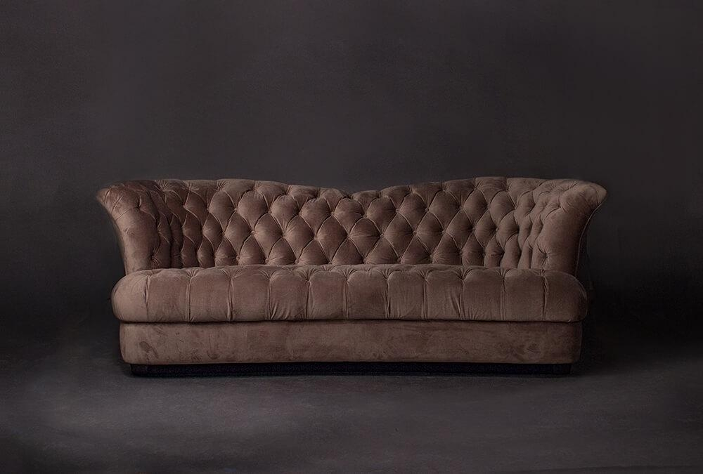 Lola Tufted Armless Sofa Couch | Living Designs Furniture In Brown Velvet Sofas (Photo 14 of 20)