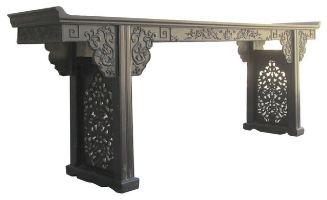 Long Chinese African Zitan Double Dragon Two Sides Carving Altar Within Asian Sofa Tables (Image 19 of 20)