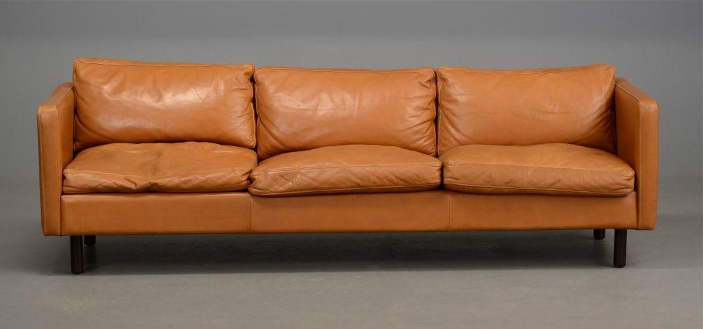 Long Danish Leather Sofa In Light Tan : Seating : Apollo Antiques Intended For Danish Leather Sofas (Image 13 of 20)