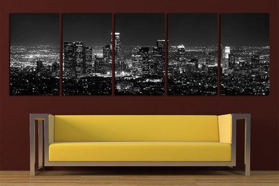 Los Angeles Canvas Print Wall Art Set Los Angeles Skyline Los Within Los Angeles Wall Art (Image 8 of 20)