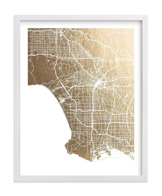 Los Angeles Map Foil Pressed Wall Artalex Elko Design | Minted Within Los Angeles Wall Art (Image 10 of 20)