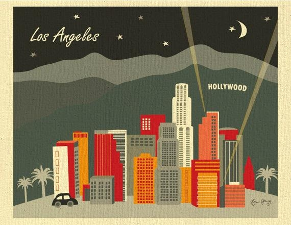 Los Angeles Skyline Art Print Hollywood Wall Art La Art In Los Angeles Wall Art (Image 11 of 20)